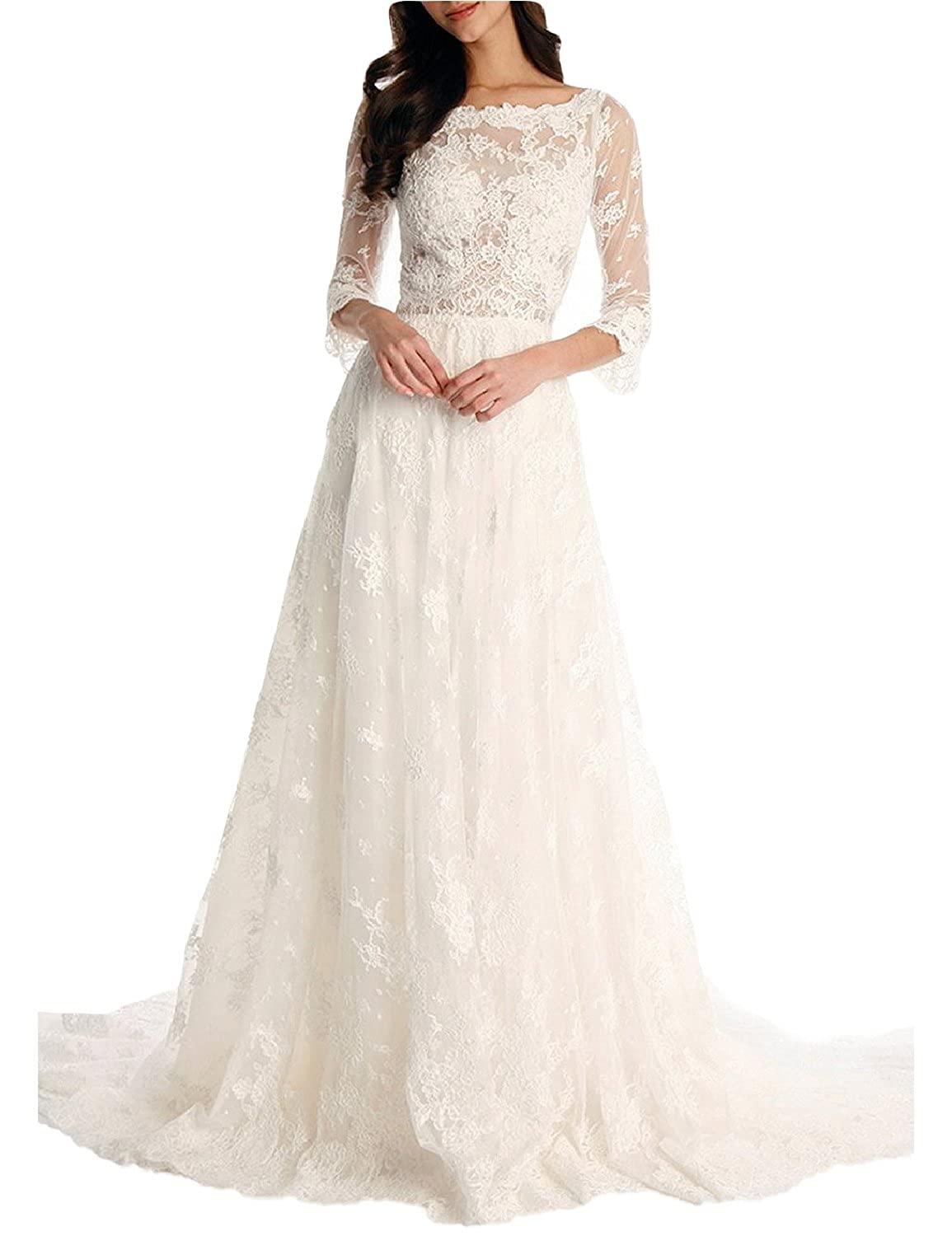 YSMei Women's Vintage Long Beach Wedding Dresses 3/4 Sleeve Lace Bride Gowns 104