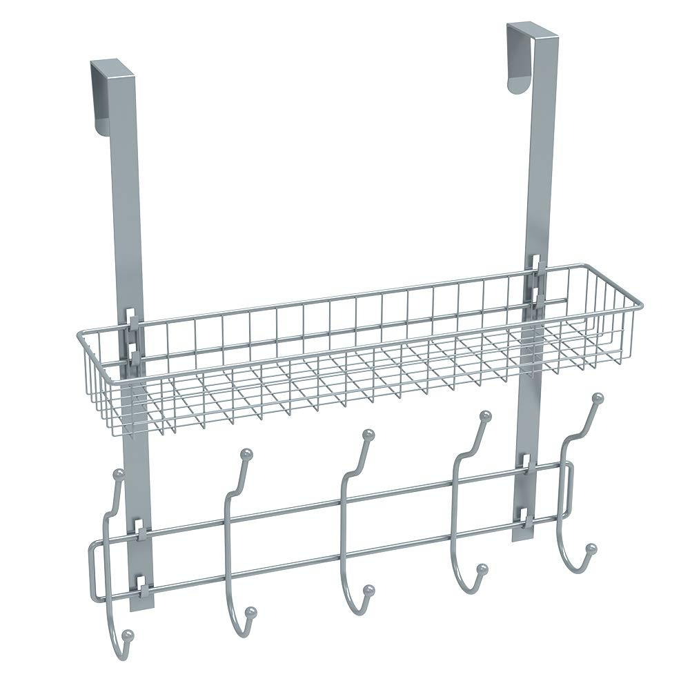 NEX Upgrade Over The Door Hook Shelf Organizer 5 Hooks with Basket Storage Rack for Coats & Towels (Silver)