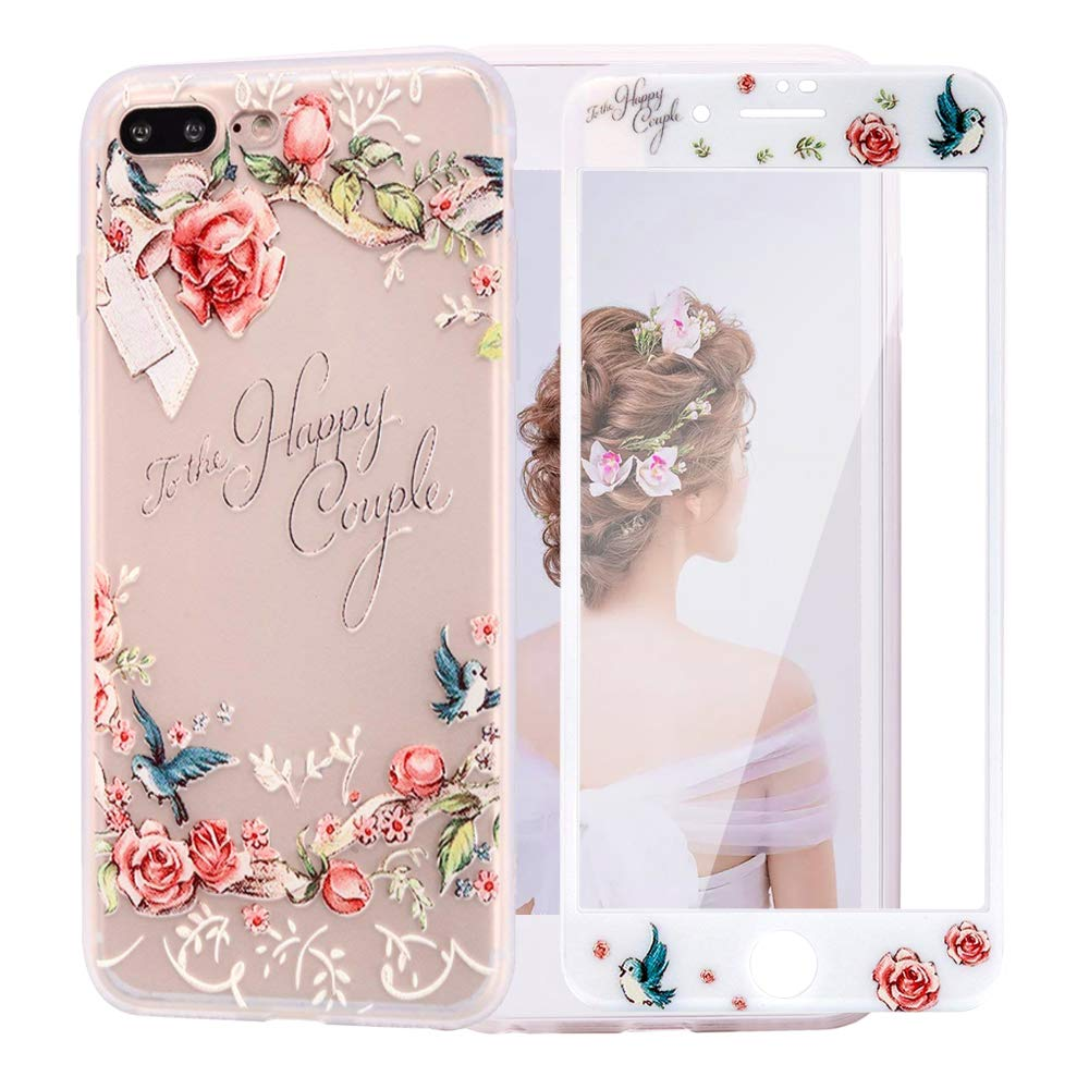 iPhone 6 Plus Case with 9H Tempered Glass Screen Protector, WZD Clear Soft TPU Silicone Case with Floral Pattern Shockproof Protective Case Compatible with iPhone 6 Plus/6S Plus 5,5'-Hibiscus flower 5-Hibiscus flower