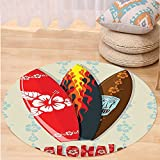 VROSELV Custom carpetHawaiian Gifts Aloha Hawaii Surfboards Tiki Tropical Flowers Orchids Surf Beach Volcano Indian Feathers Colorful Living Room Bedroom Dorm Decor Beige Red Brown Round 72 inches