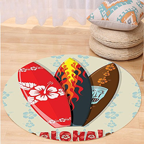 VROSELV Custom carpetHawaiian Gifts Aloha Hawaii Surfboards Tiki Tropical Flowers Orchids Surf Beach Volcano Indian Feathers Colorful Living Room Bedroom Dorm Decor Beige Red Brown Round 72 inches by VROSELV
