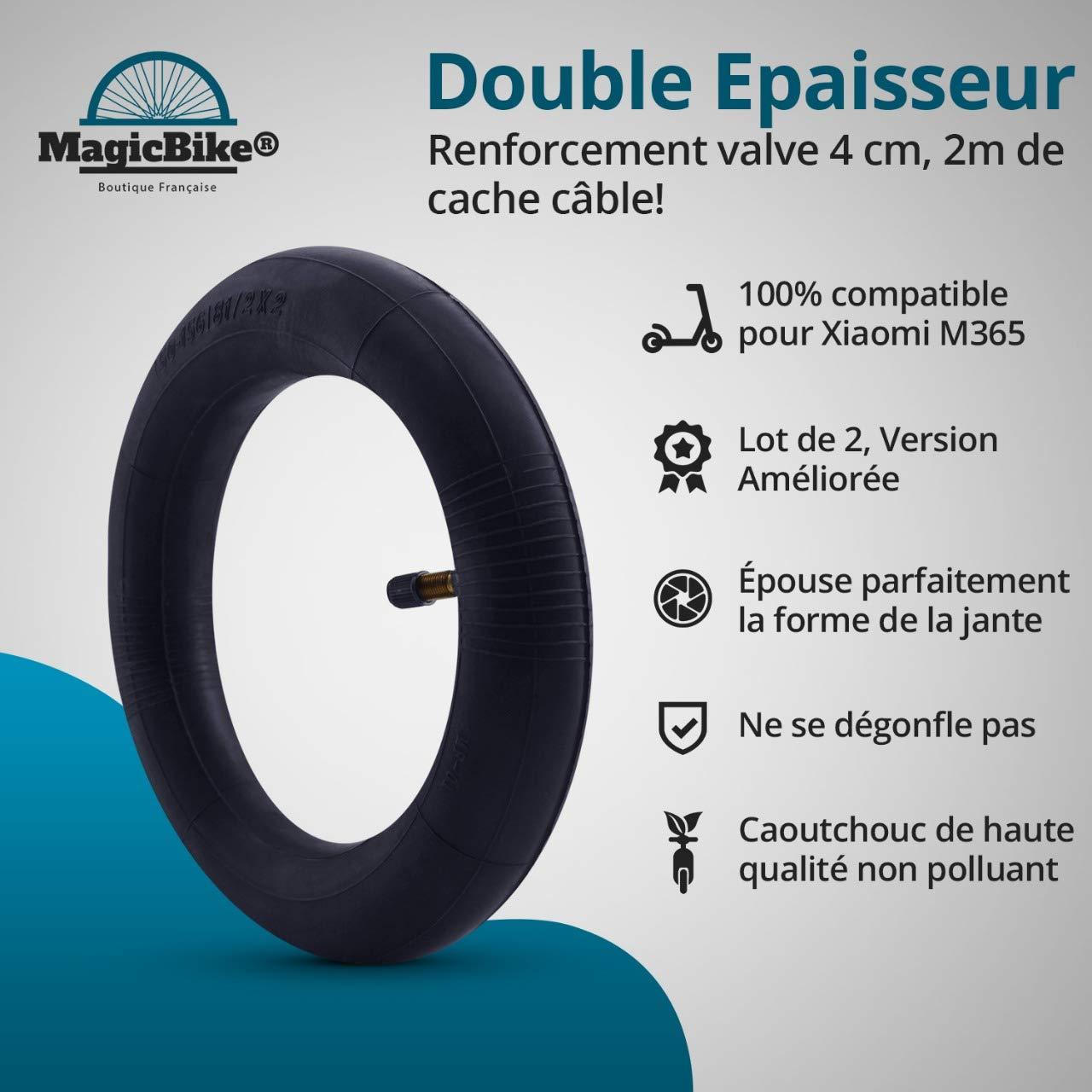 [MagicBike®] 2 cámaras de aire de doble capa para ruedas de patinete eléctrico Xiaomi M365 8 1/2x2