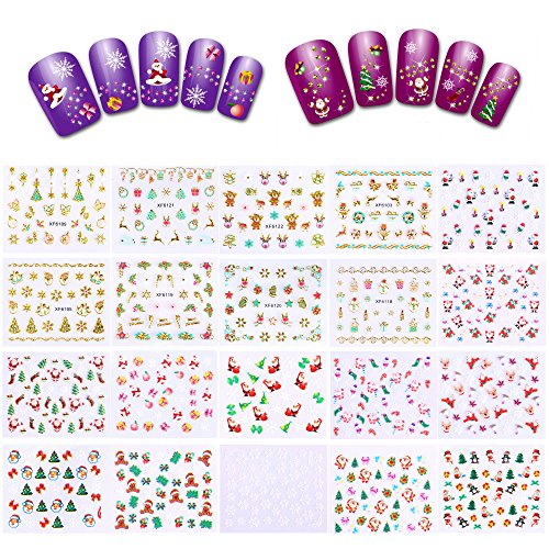 700+ Designs Christmas Nail Decals(20 Sheets), Konsait Christmas Nail Wraps Peel and Stick 3D Nail Art Stickers Self Adhesive for Women Kids Girls Kiss Designs for Xmas Party Favor Decoration -