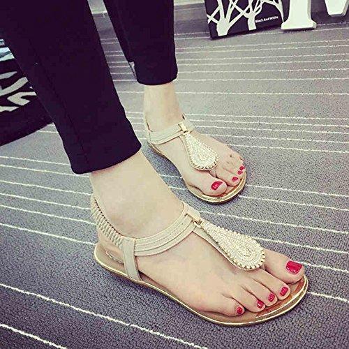 negro de de Zapatos tacón Beige Tamaño Zapatos de Color de abierto de moda playa moda beige CN40 5 sandalias verano con LIXIONG UK6 EU39 de zapatos de bajo diamantes Beige Portátil tacón qRPT5PWwI