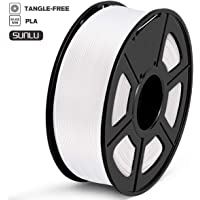 SUNLU PLA Filament 1.75mm 3D Printer Filament PLA Tangle-Free 1kg Spool (2.2lbs), Dimensional Accuracy of +/- 0.02mm PLA White