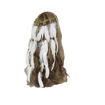59e34abd36c66 Yiwuhu Chapeau de mariée élégant pour Femmes Bandeau à Plumes à la Main  Blanche Coiffe Indienne