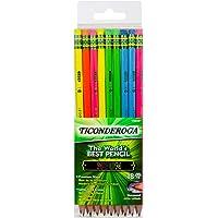 Ticonderoga Neon Pencils, 2 Pre-Sharpened Wood Pencils with Erasers, 18-Count, 13018