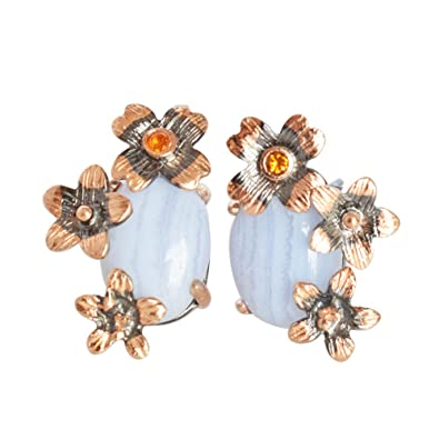 be2d7e219 Image Unavailable. Image not available for. Color: Beautiful Blue Lace  Agate Gemstone 925 Sterling Silver Black Rhodium Rose Gold Plated Stud  Earring FSJ