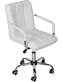 tms white modern office executive synthetic leather swivel arms chair computer desk task - White Modern Office Furniture