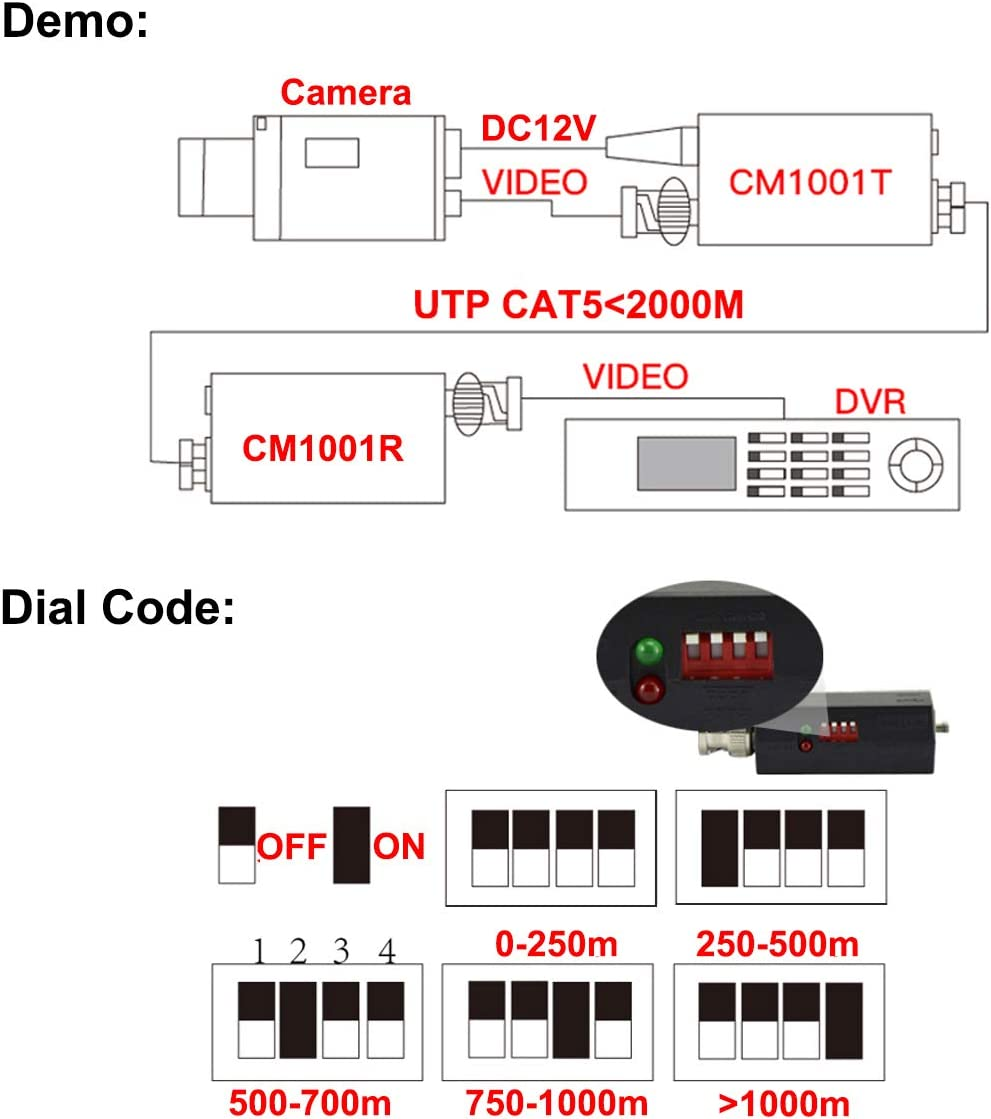 Dc12v 1-ch Active Utp Video Receiver And Transmitter Balun Bnc Male Home Improvement