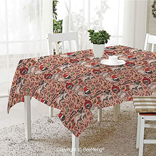 BeeMeng Spring and Easter Dinner Tablecloth,Kitchen Table Decoration,Pug,Merry Christmas Dogs Celebrating The Holiday Comedy Image Antlers Hats Candy Cones Decorative,Rose Red Green,59 x 83 ()