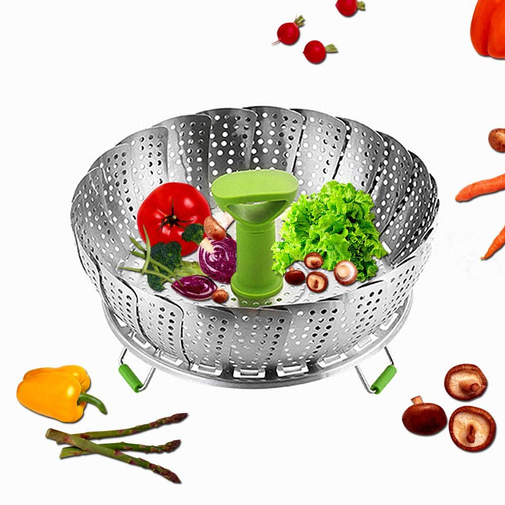 UMIWE Folding Steamer Stainless Steel Collapsible Round Steaming Tray Insert for Veggie Fish Seafood Cooking Fits Instant Pot Electric Pressure Cooker Vegetable Steamer Basket