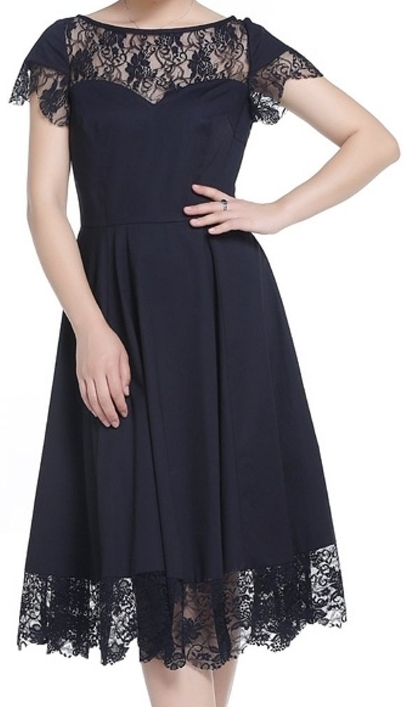 -Midnight Affair- LBD Little Black Dress 40s 50s Retro Victorian Lace Vintage Style (XL)