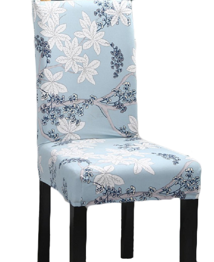 Elastic Stretch Antifouling Dining Chair Seat Protector Slipcover Decor Washable Removable Cover (Blue and white)