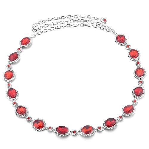 Sharplace Donne Strass Diamante Cinture Catena Regolabile Gioielli Cinghia Del Vestito Monili Accessori – Rosso, 110 cm