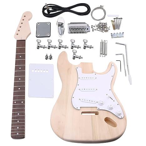 BQLZR arce Kit de guitarra eléctrica cuerpo cuello diapasón pastilla con clavijas de afinación y SSS