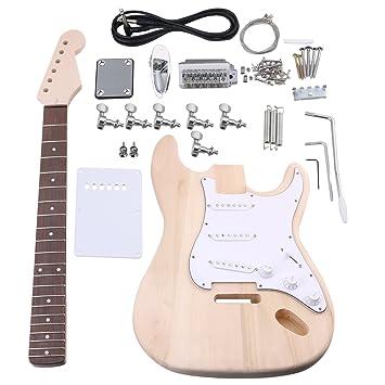yibuy arce DIY St guitarra eléctrica cuerpo cuello diapasón pastilla con clavijas de afinación y SSS pastillas acabado Set traje accesorios: Amazon.es: ...