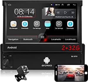 CAMECHO Android 1 Din Car Radio [2G + 32G] 7 inch Retractable & Flip OutTouchscreen Autoradio Single Din Bluetooth FM Radio WiFi Navigation Mirror Link for Android iOS Phone + Rear View Camera