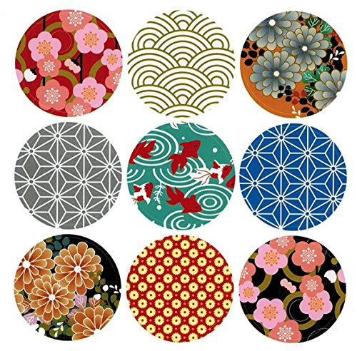 ALIMITOPIA Japan Style Sealing Sticker,Round Japanese Traditional Pattern Self-Adhesive Universal Sealing Paster Gift Packing Decorative Labels Envelope Seals(10 Sheets,90pcs)]()