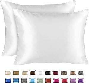 Shop Bedding Luxury Satin Pillowcase for Hair – King Satin Pillowcase with Zipper, White (Pillowcase Set of 2) – Blissford