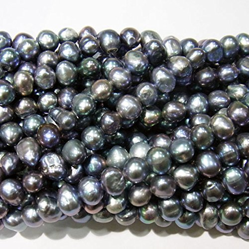 8mm Genuine Black Pearl Bracelet (TheTasteJewelry 7-8mm Genuine Twilight Black Freshwater Cultured Pearls Dyed Jewelry Making Necklace Healing 3579)