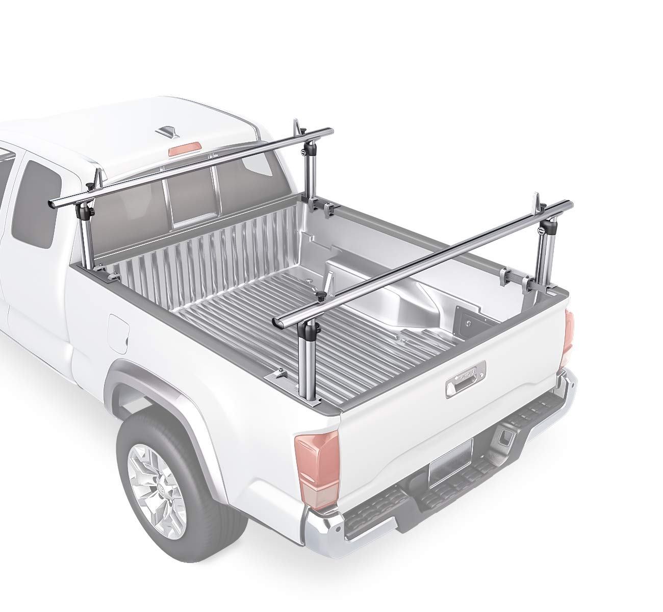 "AA-Racks Model APX2501 75"" Full-Size Pickup Truck Ladder Racks Low-profile Height-Adjustable Utility Aluminum Truck Bed Rack with Load Stops"