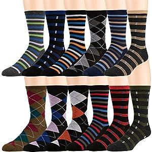 Men's Pattern Dress Funky Fun Colorful Socks 12 Assorted Patterns Size 6-12 (MB 1)