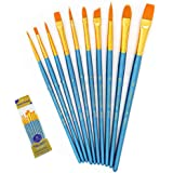 Paint Brushes Set, 10pcs Paintbrushes Flat/Shader Tip for Watercolor, Oil, Acrylic Painting and Craft, Nail, Face Paint…