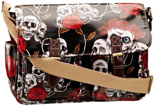 SwankySwans Girl's Maple Skull & Rose Satchel Black SS01059