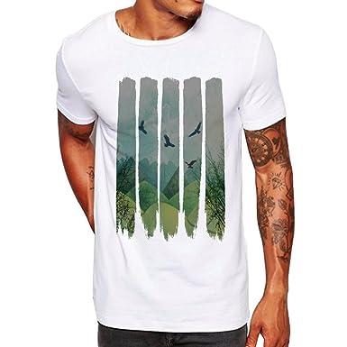 49c54641e508 Men Stripe Floral Printed Tees Shirt Modal Short Sleeve T Shirt Casual  Loose Blouse (White