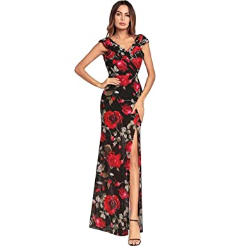 Women V Neck Cap Sleeve High Waist Floral Swing Maxi Dress Sexy Irregular Slit Backless Party