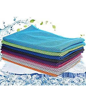 Well-Being-Matters 61u%2B6OJyahL._SS300_ 9 Pack Snap Cooling Sport Towels,Fast Drying Absorbent Sports Towel for Neck, Fitness,Yoga