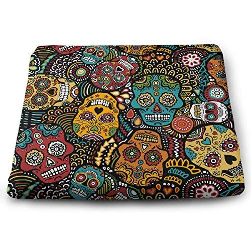 - NiYoung Super Soft Memory Foam Seat Pads - Bar Stool, Office Chair, Wheelchair Mexican Sugar Skulls Cushion, Thin & Breathable Seat Pad, Zipper & Square Chair Pads for Men, Women, Kids