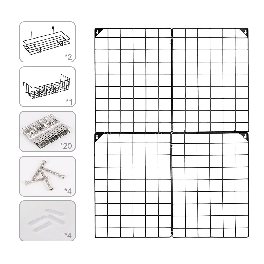 Nex Grid Panel Multifunctional Metal Mesh Organizer Art Display Home Decor Dorm Decoration On Wall 4 Small Grid Panels /& 3 Mess Baskets Size 32.7 x 23.8 Black