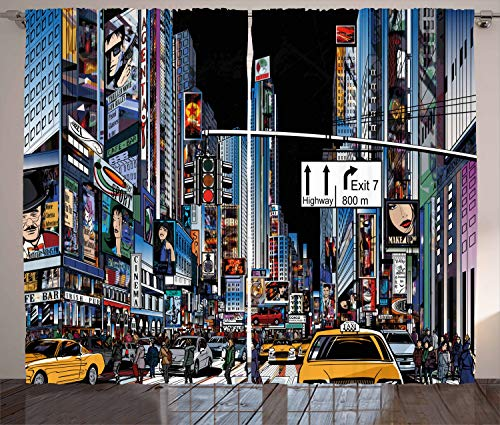 Ambesonne City Curtains, Cartoon Style New York Night Scene Advertisements Crowded Streets Taxis Highway Exit, Living Room Bedroom Window Drapes 2 Panel Set, 108 W X 108 L Inches, Multicolor