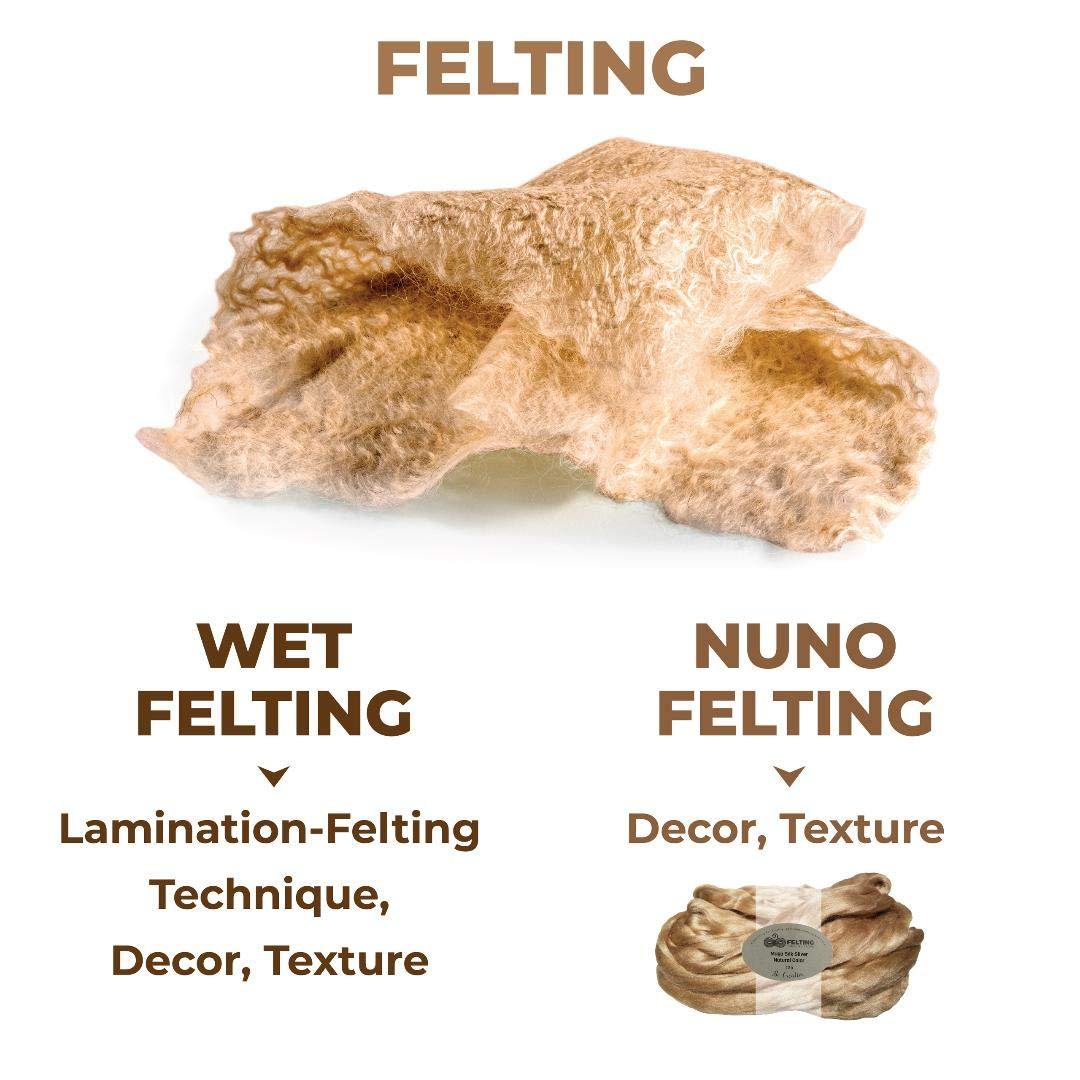 Weaving Spinning Muga Silk Sliver Grade-AA Luxury Natural Long Shiny Golden Color Roving Wet Felting Mixed Media Nuno Felting Crafts