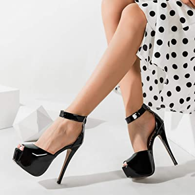 Richealnana Womens Platform Sky High Heel Pumps Slip On Round Toe Block Heel for Party