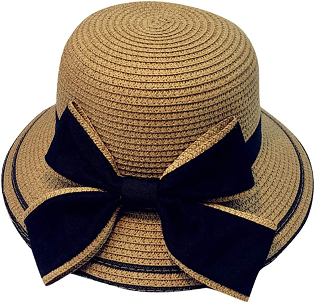4Clovers 2019 Summer Parent-Child Beach Hat Casual Panama Hat Flat Brim Bowknot Straw Cap Sun Hat for Women Girl