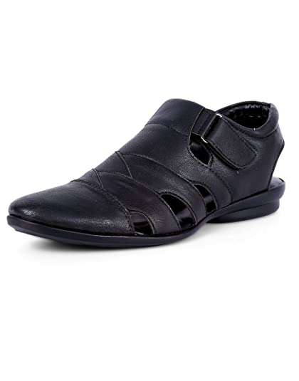 45015cf9485f Peponi Men s Black Faux Leather Fisherman Casual Sandals and ...