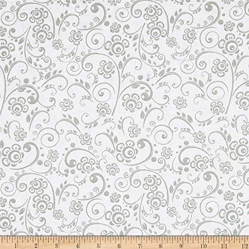 [해외]Santee Print Works GreyWhite 108 Wide Get Back Flourish Fabric by The Yard / Santee Print Works GreyWhite 108 Wide Get Back Flourish Fabric by The Yard