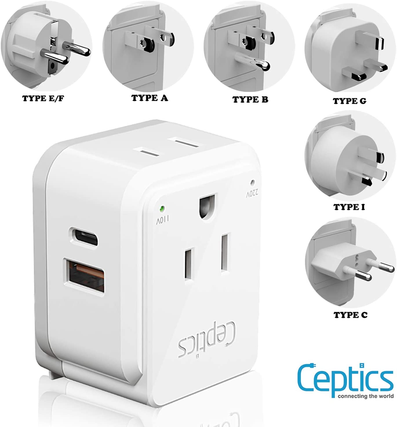 World Power Plug Adapter Travel Set Ceptics, Safe Dual USB & USB-C 3.1A 2 USA Outlet Compact & Powerful - Use in Europe, Asia, Australia, Japan - Includes Type A, B, C, E/F, G, I SWadAPt Attachments