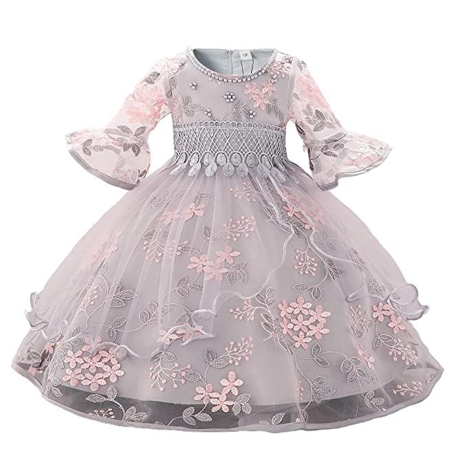 Myosotis510 Girls Lace Princess Wedding Baptism Dress Long Sleeve Formal Party Wear For Toddler Baby Girl
