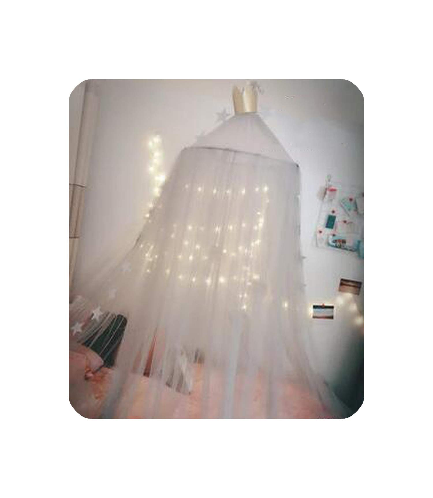 7 Colors Hanging Kids Baby Bedding Dome Bed Canopy Cotton Mosquito Net Bedcover Curtain for Baby Kids Reading Playing Home Decor,White,Height 240cm