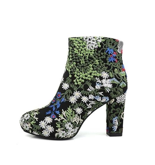 Best 4U® Zapatos de mujer Gamuza de gamuza Botines de otoño de invierno Suela de goma Punta redonda Tacón grueso Martin Botas Bordado de flores: Amazon.es: ...