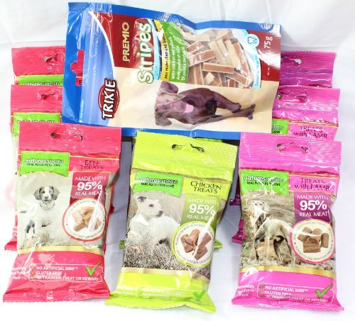 Natures Menu Dog Treat Pack – 9 Bags of Treats – 3 of each flavour + Free Bag of Trixie Chicken and Pollock (no added sugar)