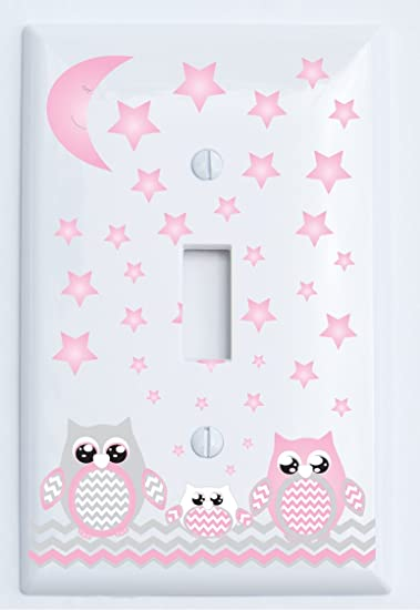 Amazoncom Grey And Pink Owl Light Switch Plate Covers Single - Pink and grey nursery decor