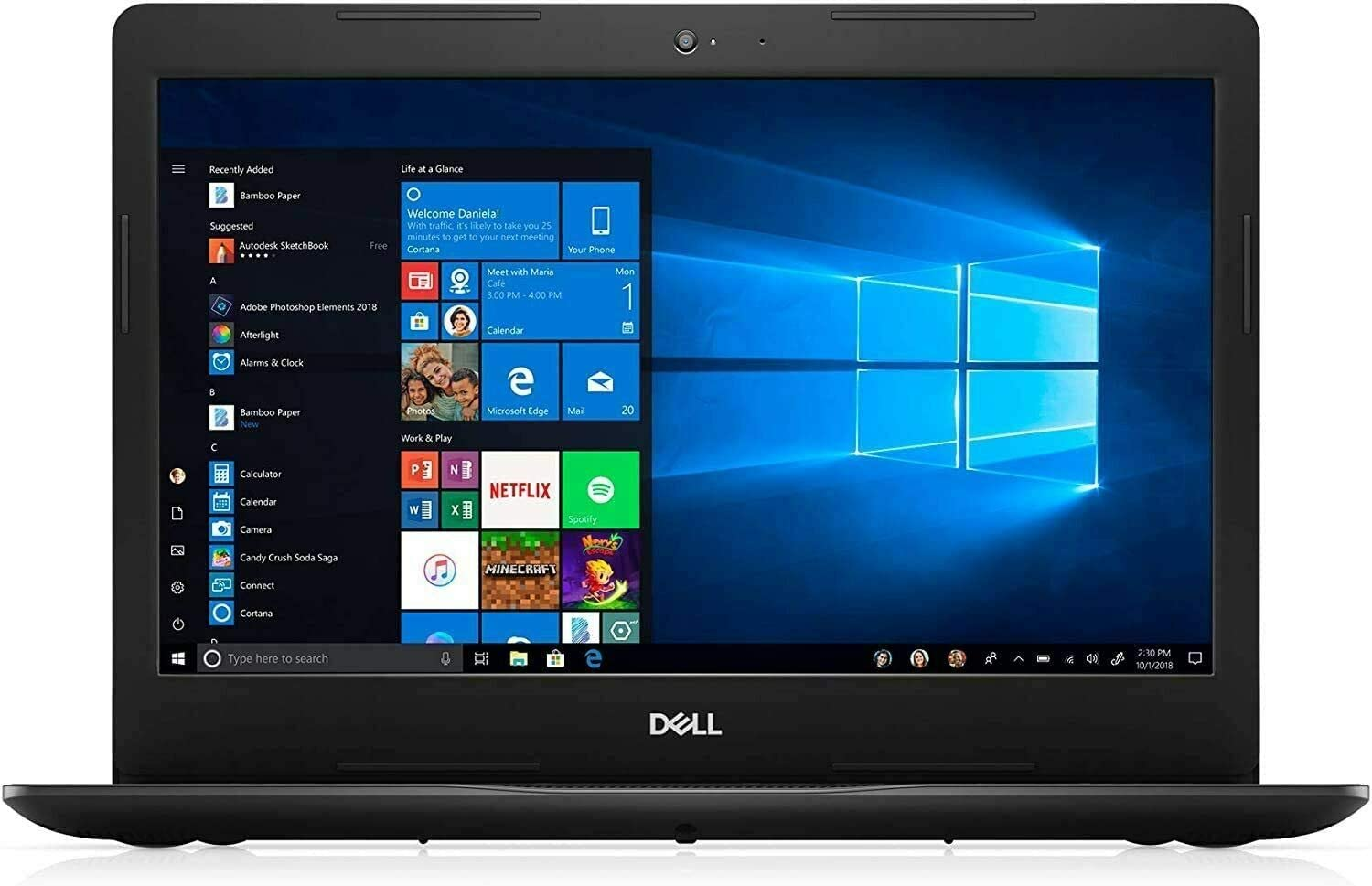 "2020 Newest Dell Inspiron 15 15.6"" Laptop Computer, 10th Gen Intel Core i3 1005G1 (Beat i5-7200u), 4GB DDR4 RAM, 128GB PCIe SSD, 802.11ac WiFi, Online Class Ready, Black, Windows 10, iPuzzle Mousepad"