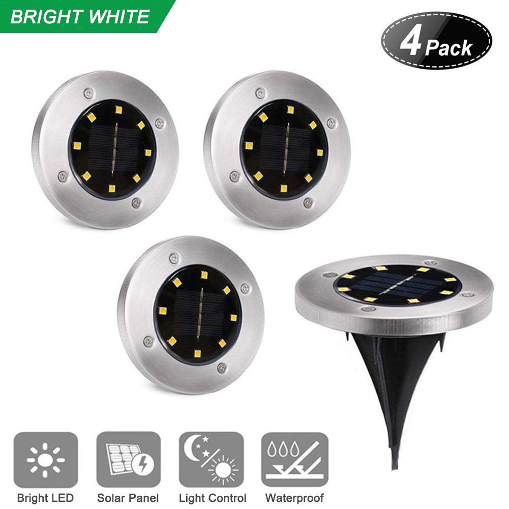 Solar Ground Lights,8 LED Disk Lights Solar PoweredWaterproof Garden Pathway Outdoor in-Ground Lights with Light Sensor,White (4 Pack)