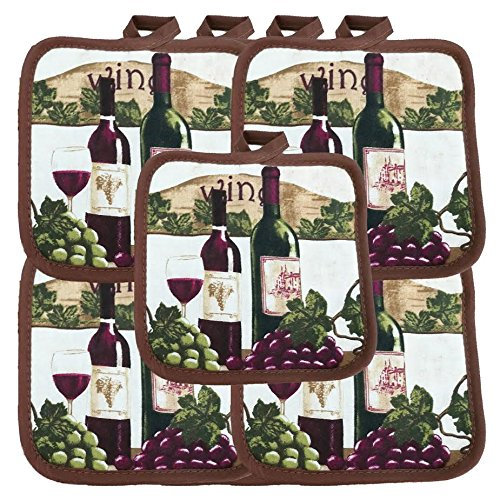 "(Ten) 10 Pack Pot Holders 6.5"" Square Solid Color Everday Quality Kitchen Cooking Chef Linens (Wine)"