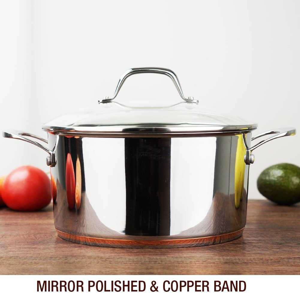 HOMI CHEF Mirror Polished Copper Band NICKEL FREE Stainless Steel 4.5 Quart Stock Pot with Glass Lid No Toxic Non Stick Coating, 9.5 Inch – Cookware Set – Cookware Pots And Pans Sets